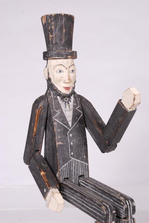 CARVED AND PAINTED ARTICULATED ABE LINCOLN FIGURE - 5