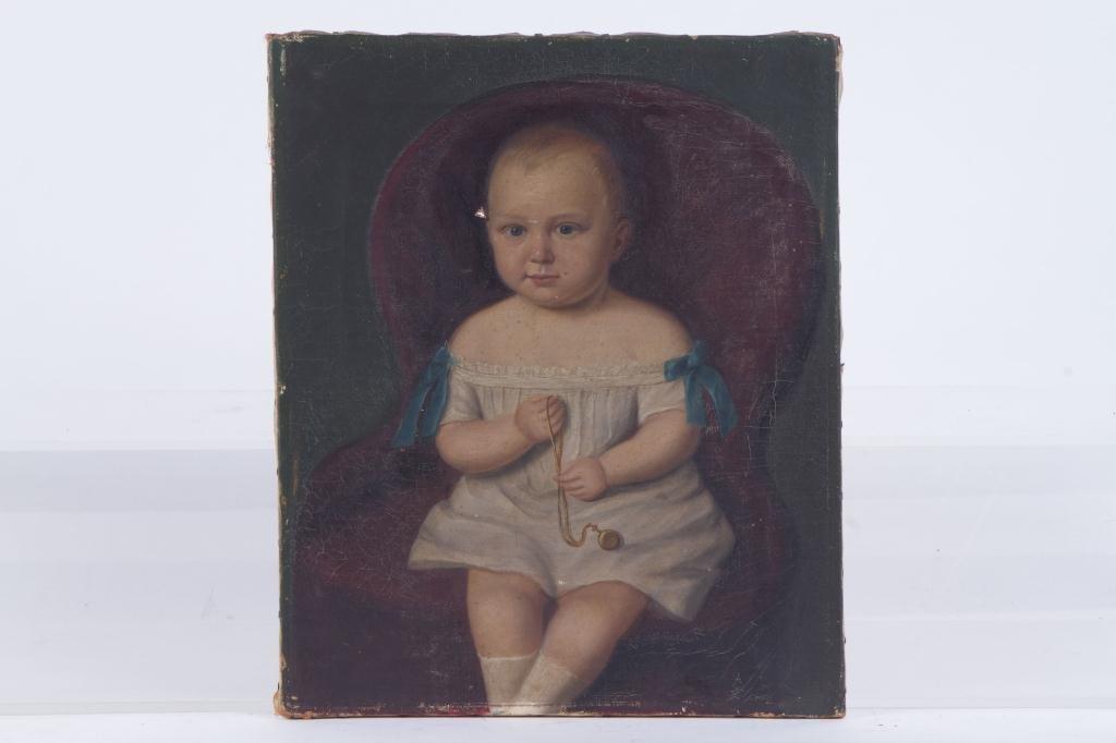 (19th c) PRIMITIVE PORTRAIT OF A TODDLER
