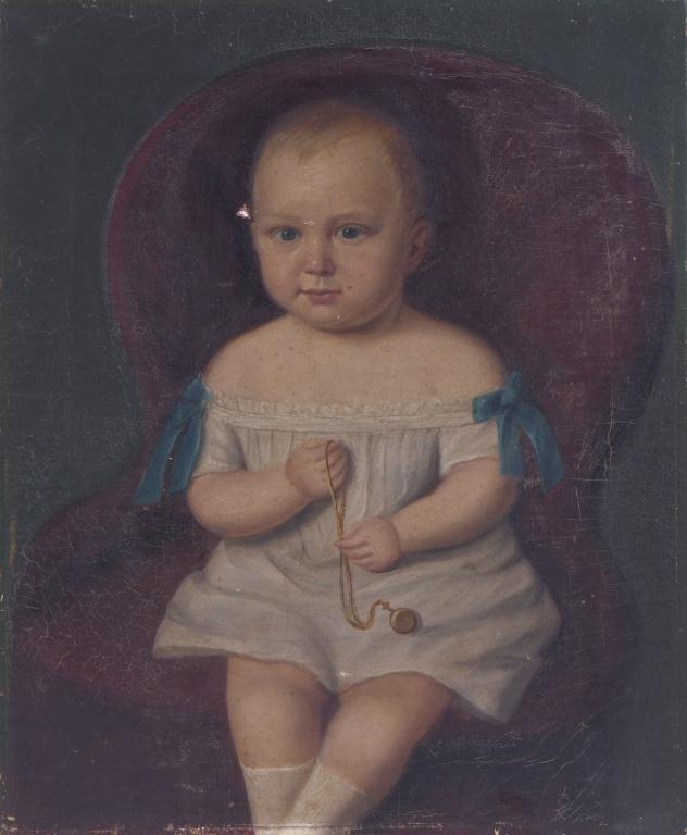 (19th c) PRIMITIVE PORTRAIT OF A TODDLER - 4