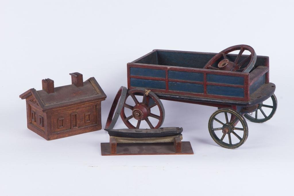 LOT OF (19th c) HANDMADE CARVED AND PAINTED TOYS