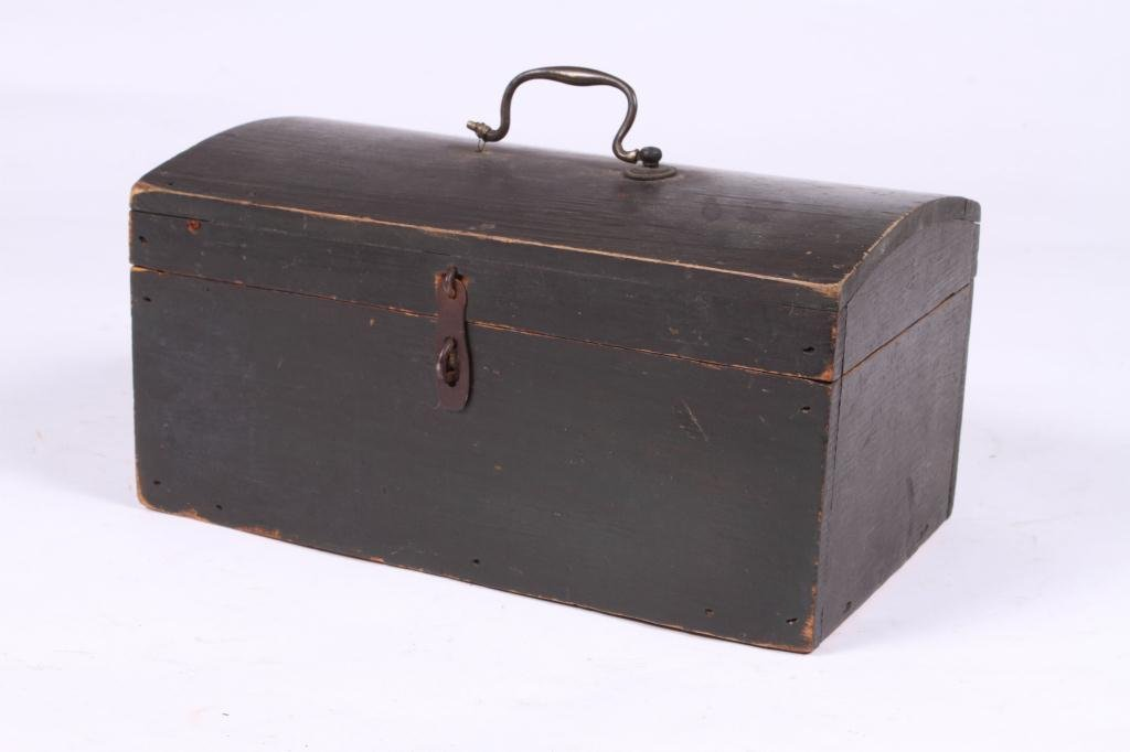 (18th c) DOME TOP DOCUMENT BOX IN GREEN PAINT