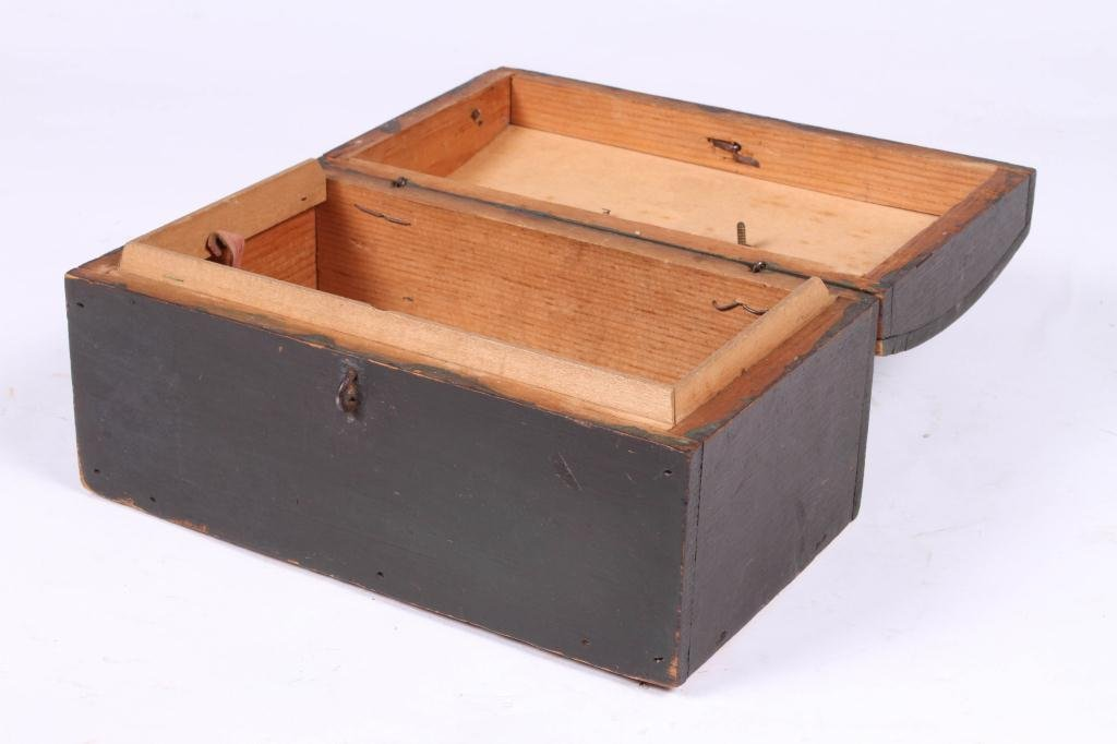 (18th c) DOME TOP DOCUMENT BOX IN GREEN PAINT - 3