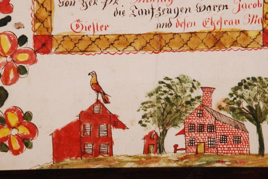 (19th c) FRAKTUR DOCUMENTING BIRTH BERKS COUNTY - 2
