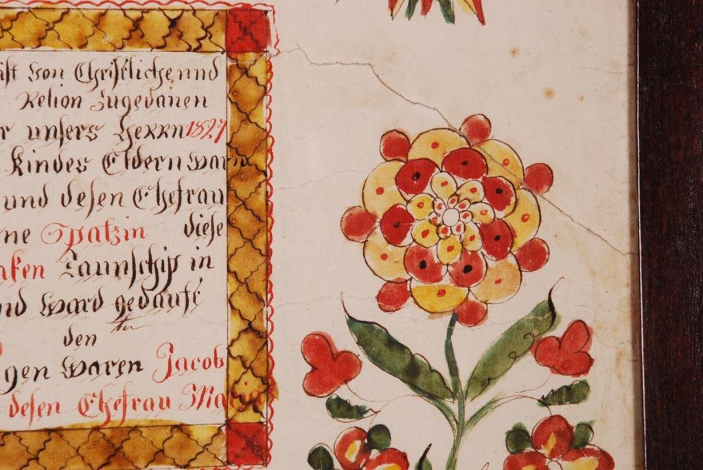 (19th c) FRAKTUR DOCUMENTING BIRTH BERKS COUNTY - 3