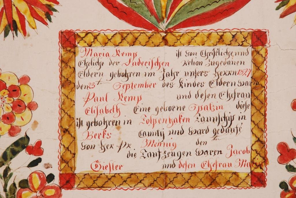 (19th c) FRAKTUR DOCUMENTING BIRTH BERKS COUNTY - 4