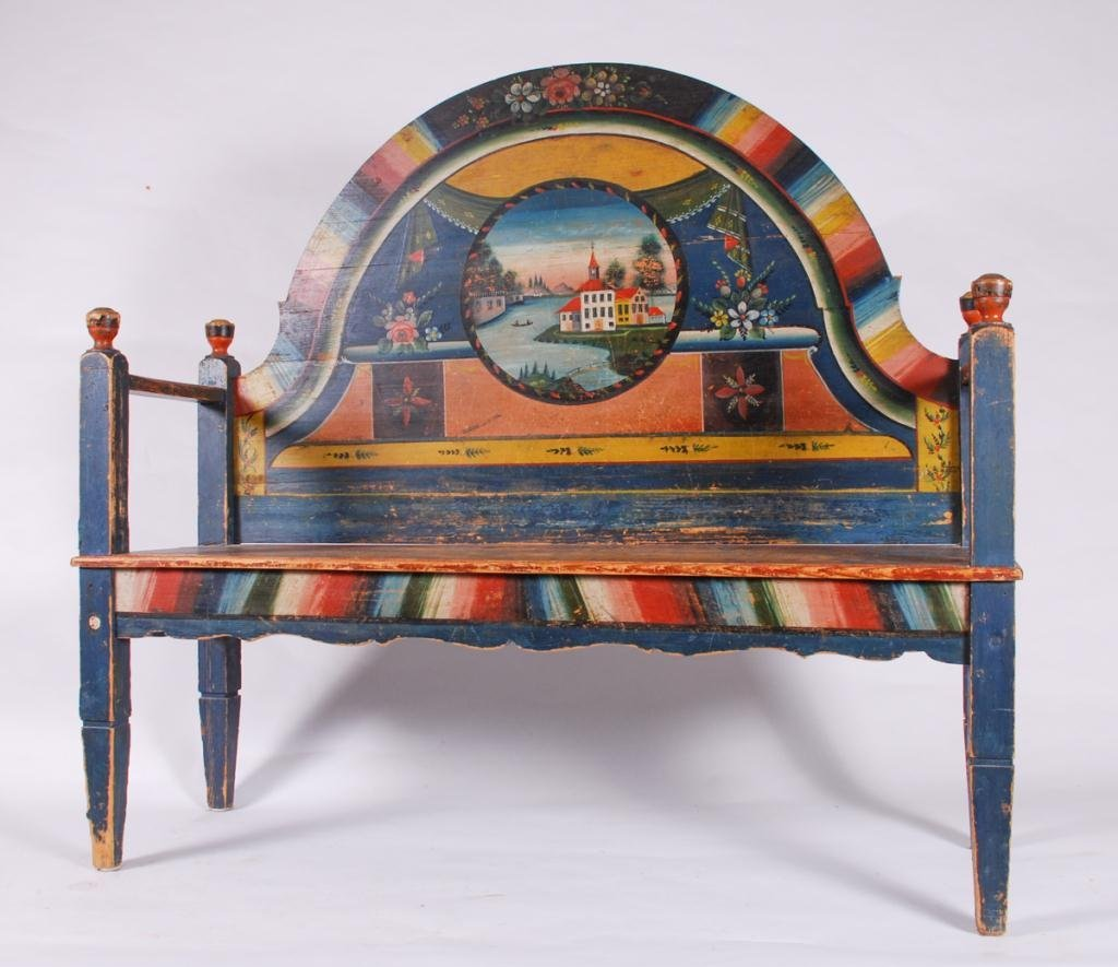 (19th c) PENNSYLVANIA PAINT DECORATED HALL BENCH