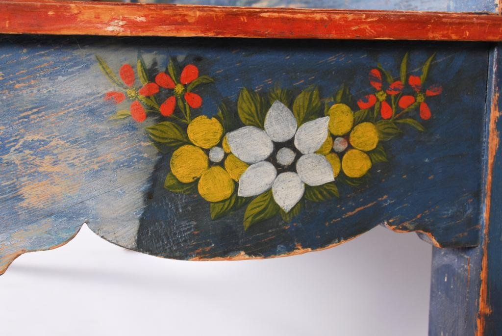 (19th c) PENNSYLVANIA PAINT DECORATED HALL BENCH - 2
