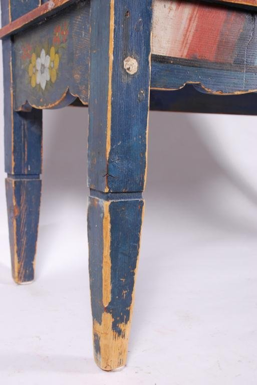(19th c) PENNSYLVANIA PAINT DECORATED HALL BENCH - 3