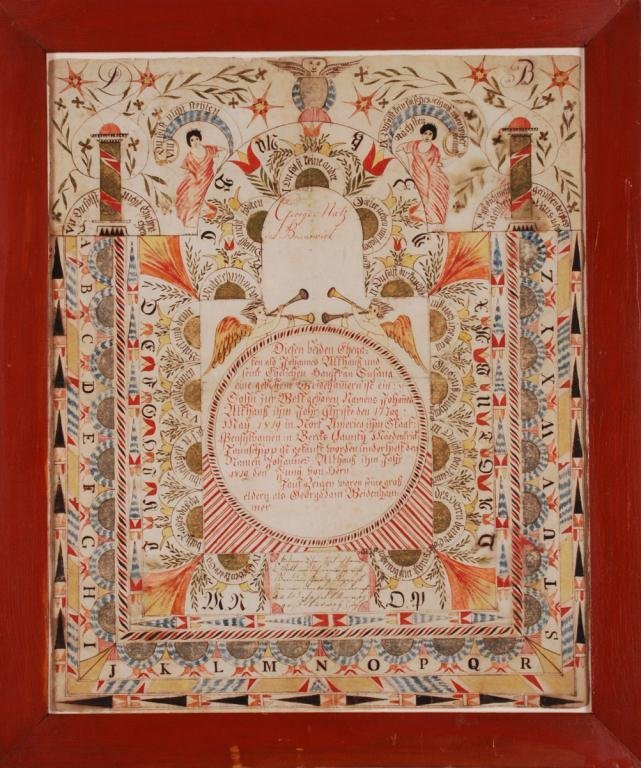 ELABORATE FRAKTUR with ANGELS and ALPHABET