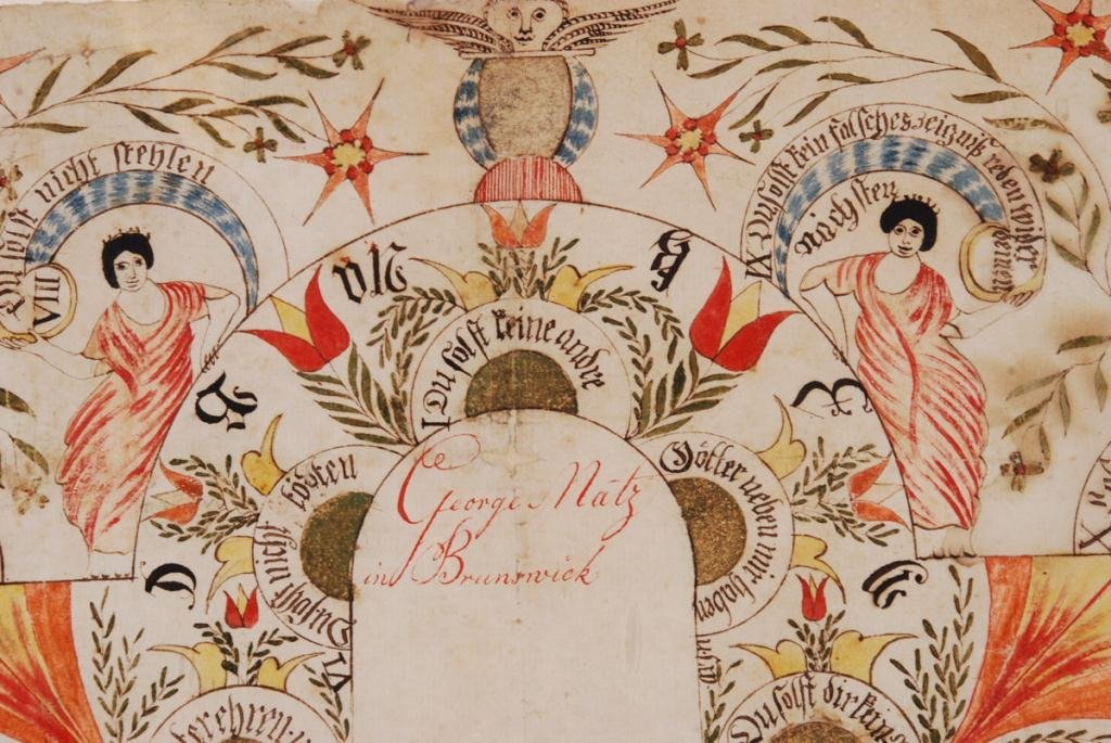 ELABORATE FRAKTUR with ANGELS and ALPHABET - 2