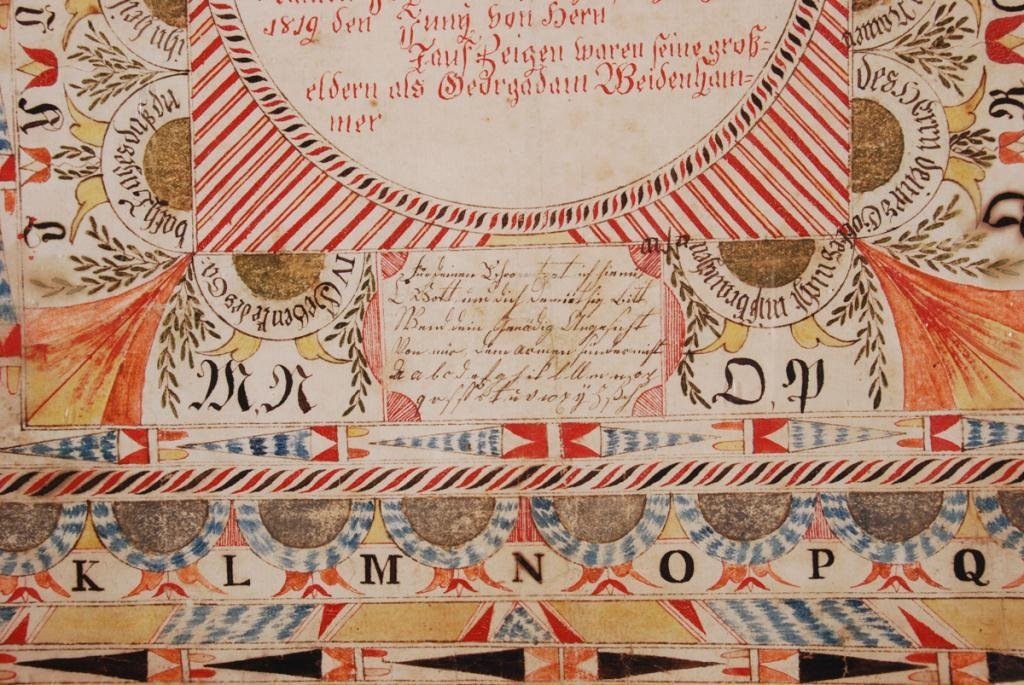 ELABORATE FRAKTUR with ANGELS and ALPHABET - 3