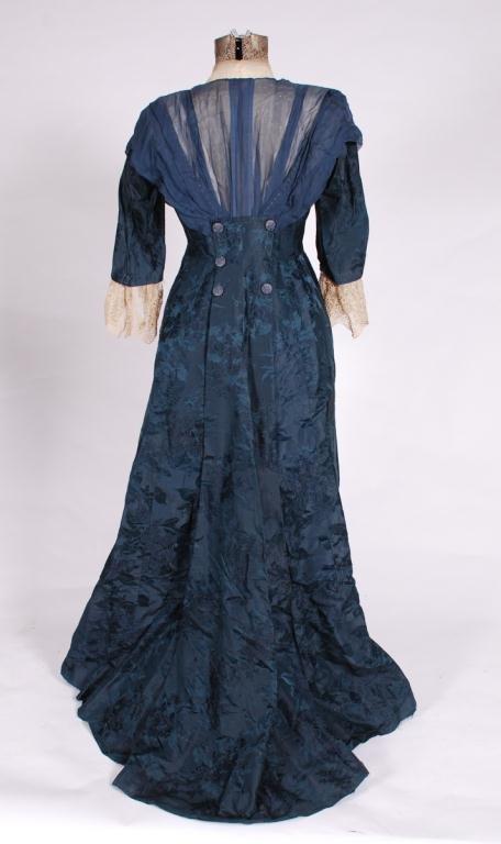 (19th/20th c) SILK DRESS w/ FLORAL DAMASK BROCADE