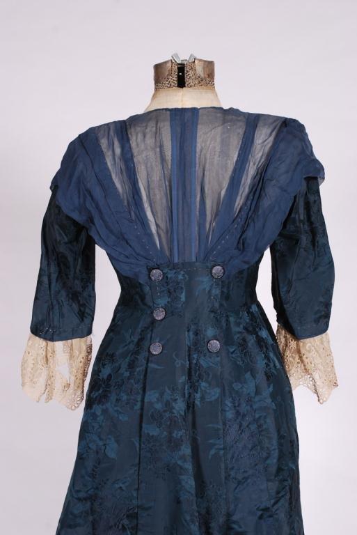 (19th/20th c) SILK DRESS w/ FLORAL DAMASK BROCADE - 2