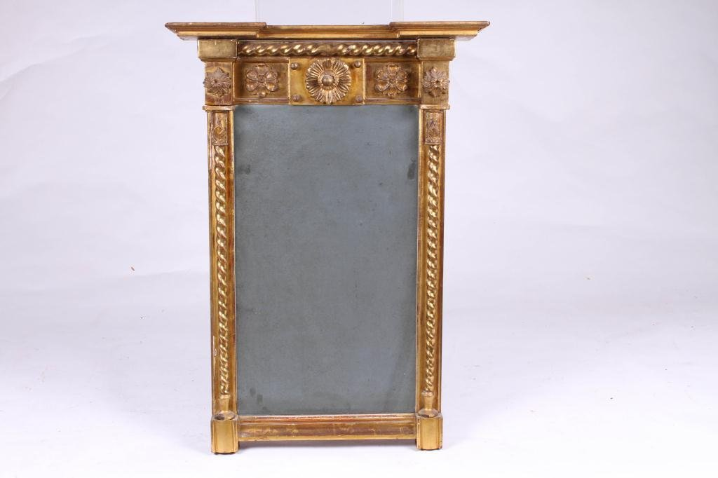 (Early 19th c) GILT, CARVED & TURNED LOOKING GLASS