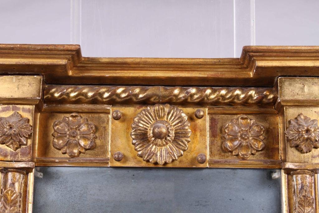 (Early 19th c) GILT, CARVED & TURNED LOOKING GLASS - 2
