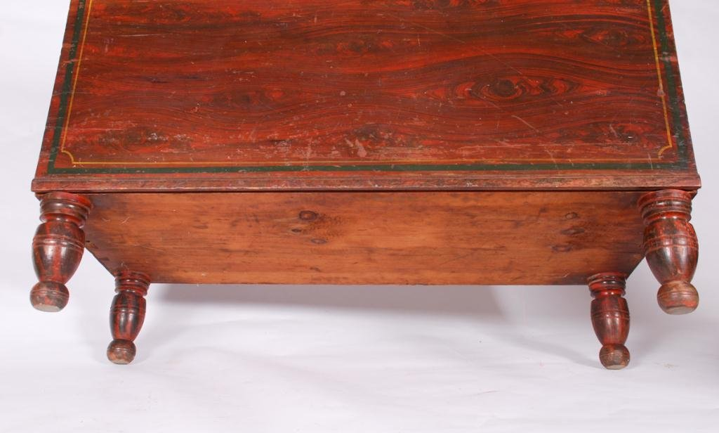 GRAIN PAINTED (6) BOARD CHEST ON TURNED FEET - 2