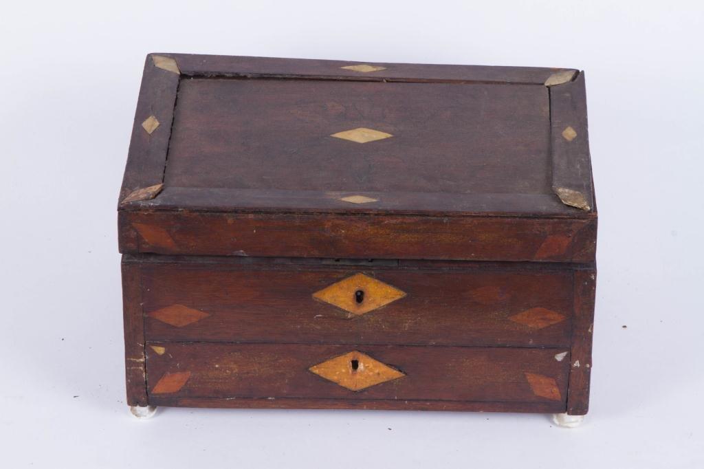 (19th c) INLAID MAHOGANY ARTIST BOX - 2