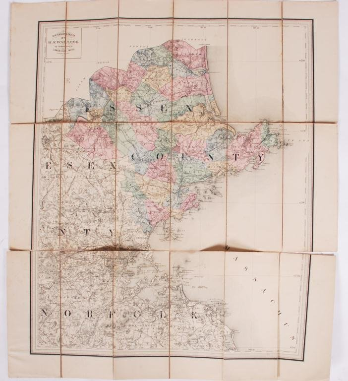 c. 1880 W.F. WALLING MAP of ESSEX COUNTY