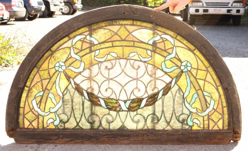 EARLY STAINED GLASS LUNETTE
