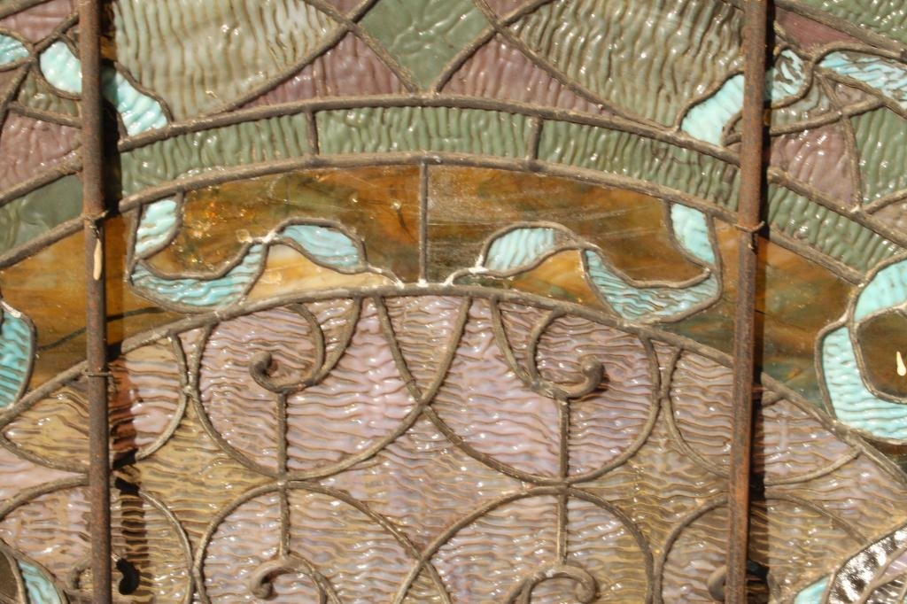 EARLY STAINED GLASS LUNETTE - 2