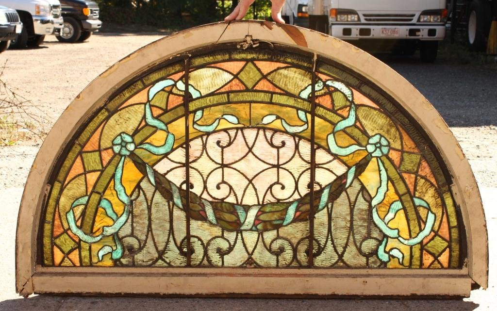 EARLY STAINED GLASS LUNETTE - 5