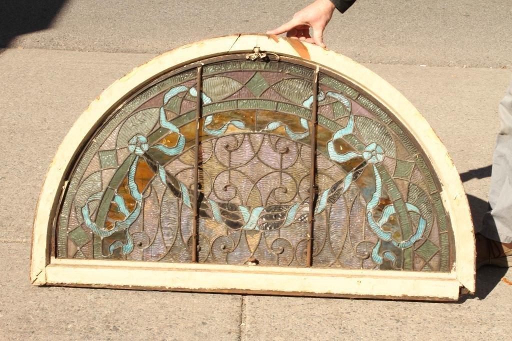 EARLY STAINED GLASS LUNETTE - 8