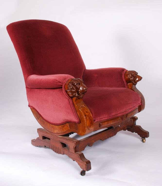 VICTORIAN PLATFORM ROCKER with DOG HEAD ARMS