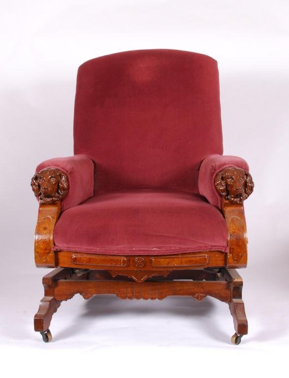 VICTORIAN PLATFORM ROCKER with DOG HEAD ARMS - 2