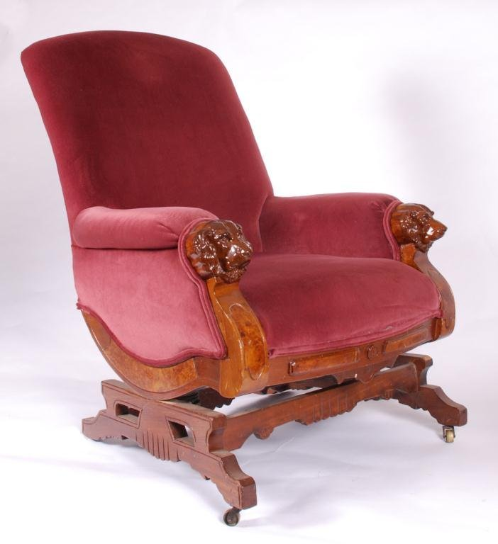VICTORIAN PLATFORM ROCKER with DOG HEAD ARMS - 5