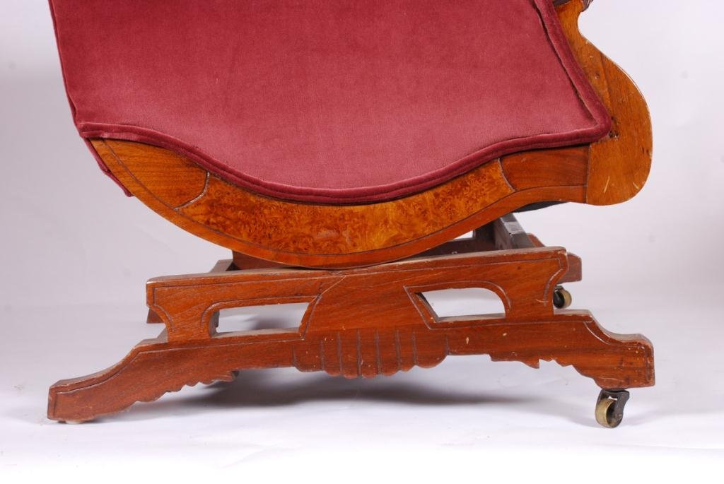 VICTORIAN PLATFORM ROCKER with DOG HEAD ARMS - 7