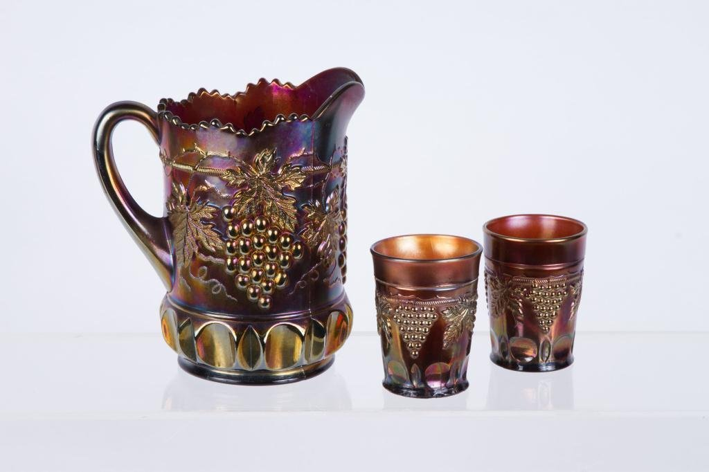 NORTHWOOD AMETHYST CARNIVAL GLASS WATER SET