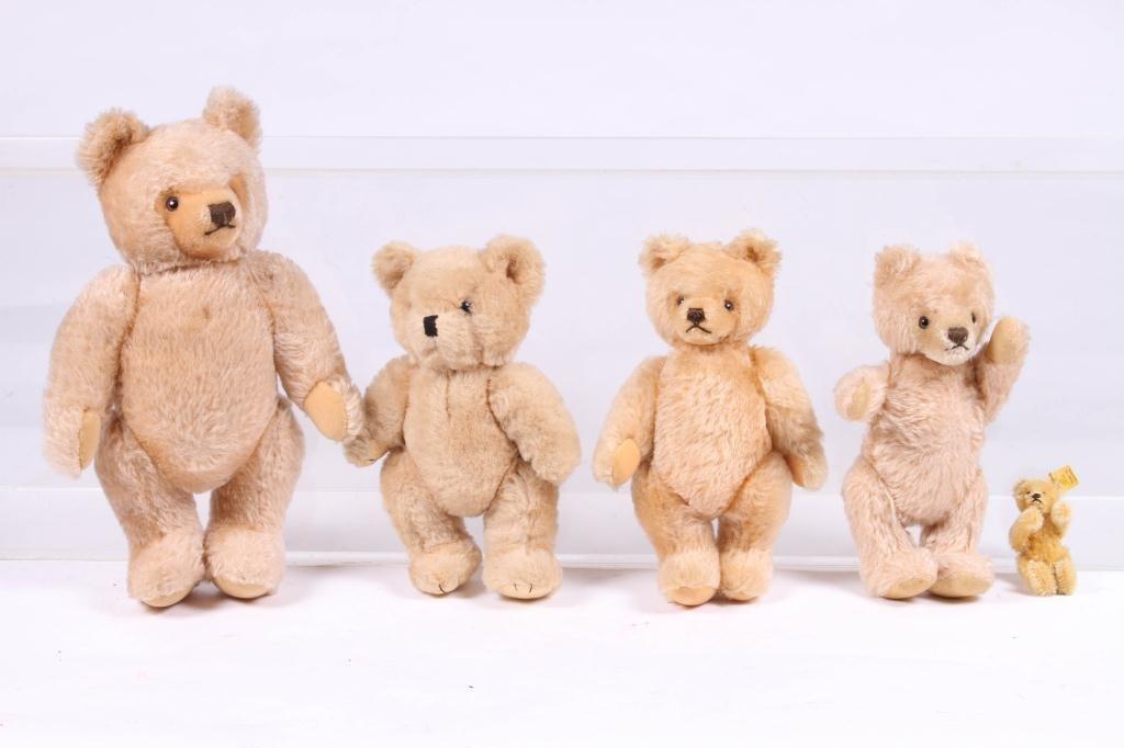 (5) STEIFF ARTICULATED TEDDY BEARS