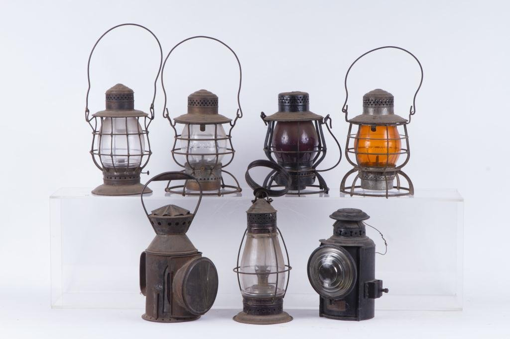 (6) RAILROAD LANTERNS and PIERCED TIN BARN LANTERN