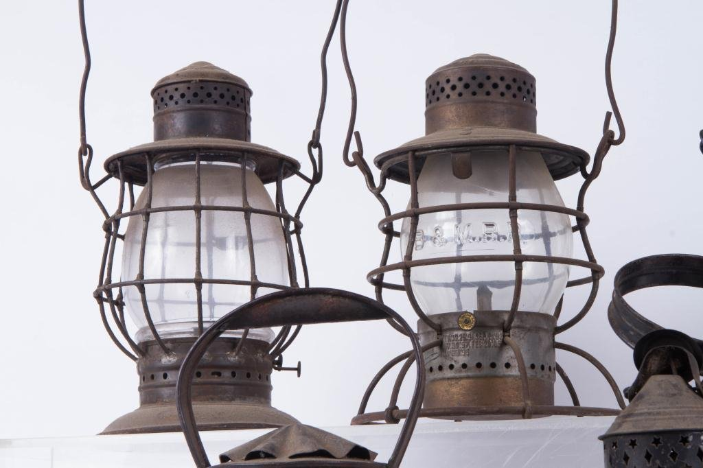 (6) RAILROAD LANTERNS and PIERCED TIN BARN LANTERN - 5