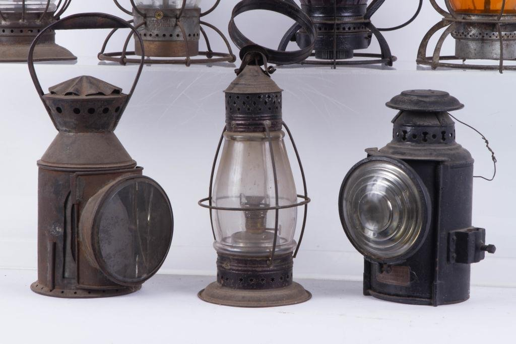 (6) RAILROAD LANTERNS and PIERCED TIN BARN LANTERN - 6