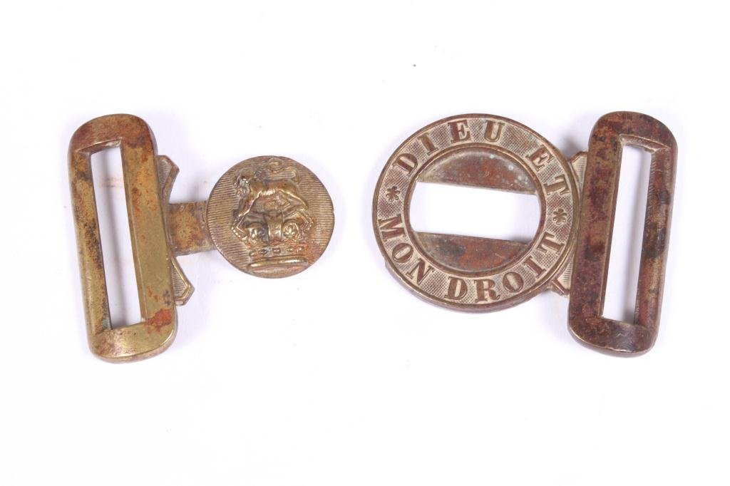 (2) US ARMY BELT PLATES AND A BRITISH ARMY BUCKLE - 2