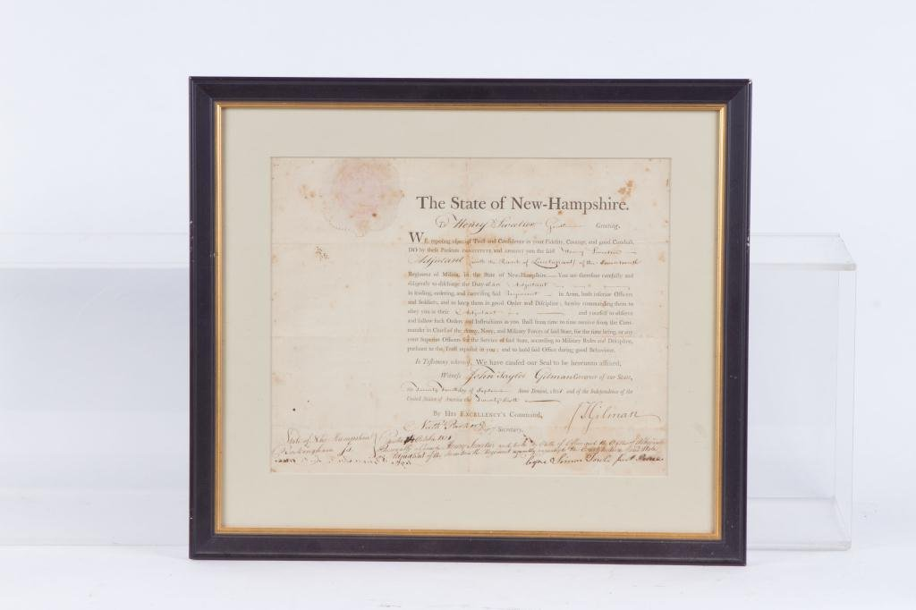 1801 NH MILITIA APPOINTMENT SIGNED JOHN T. GILMAN