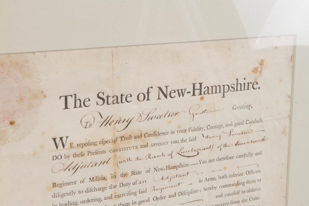 1801 NH MILITIA APPOINTMENT SIGNED JOHN T. GILMAN - 2