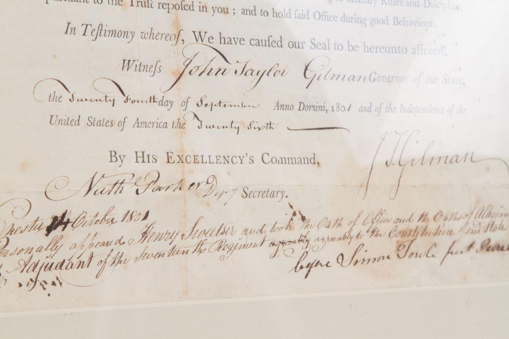 1801 NH MILITIA APPOINTMENT SIGNED JOHN T. GILMAN - 3