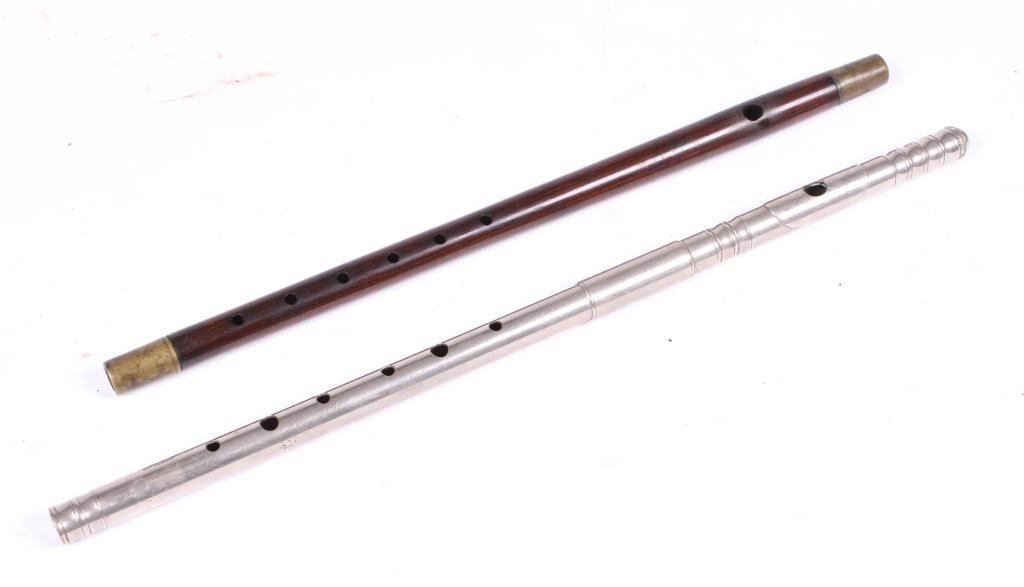 ANTIQUE NICKEL PLATED AND ROSEWOOD FIFES