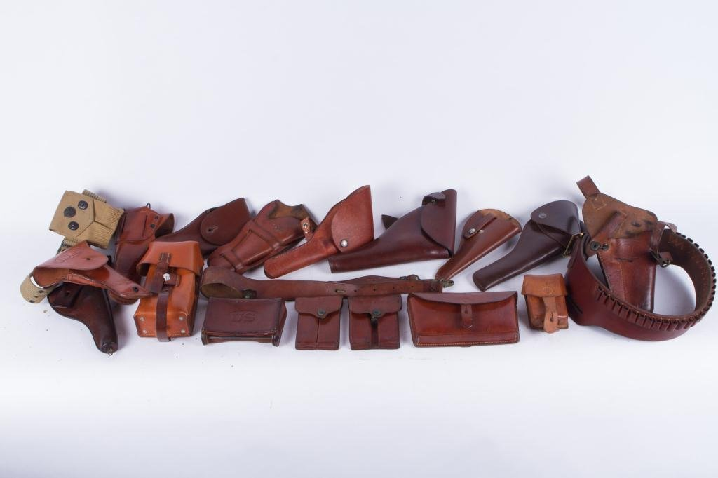 (4) US LEATHER HOLSTERS, CARTRIDGE etc.