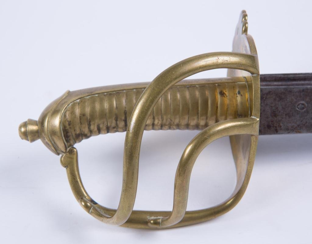 HEAVY (19th c) SWORD WITH BRASS GUARD AND HANDLE - 3