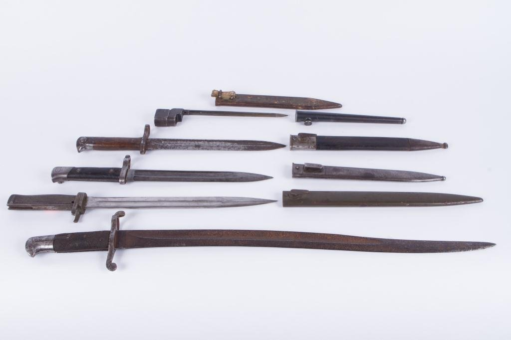 (5) EARLY (20th c) BAYONETS (6) SCABBARDS