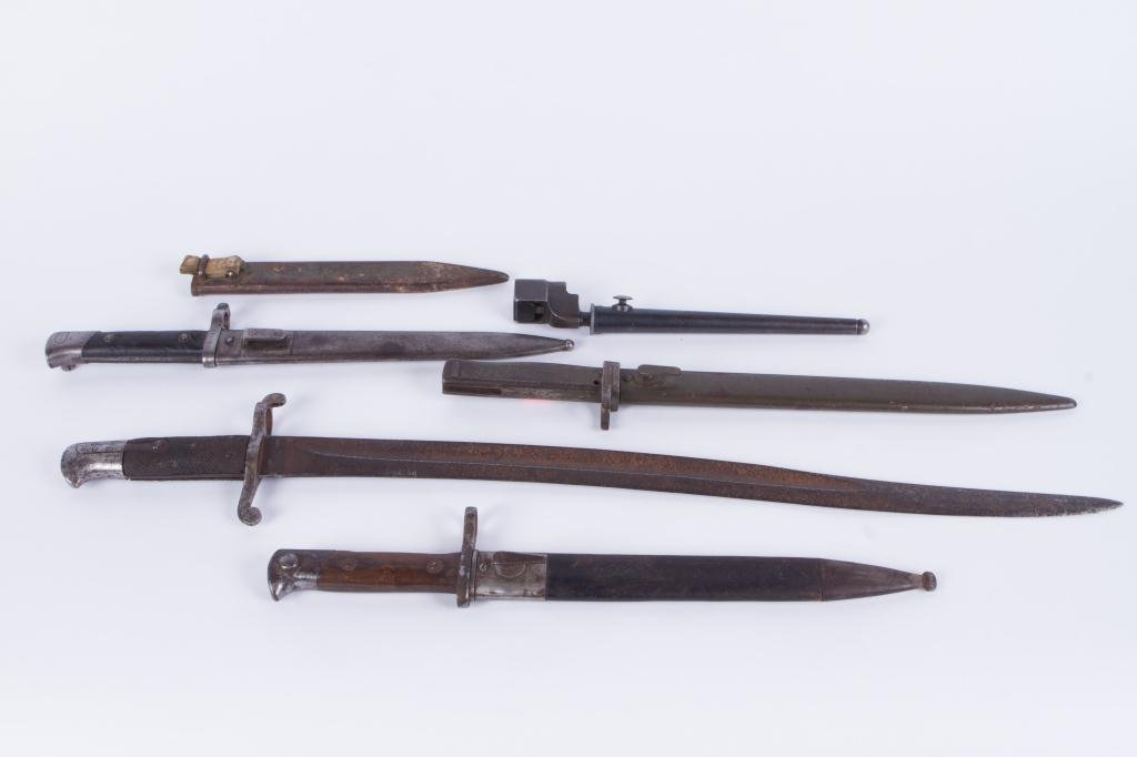 (5) EARLY (20th c) BAYONETS (6) SCABBARDS - 4