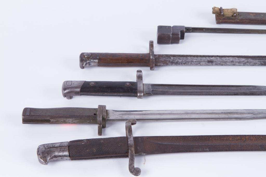 (5) EARLY (20th c) BAYONETS (6) SCABBARDS - 5