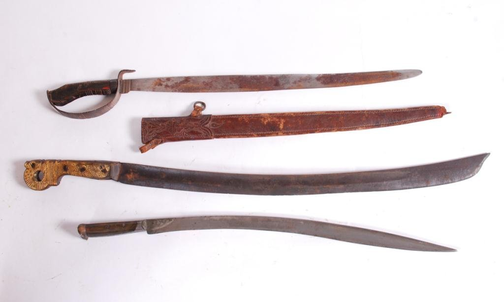 MACHETE AND (2) SOUTH PACIFIC SWORDS