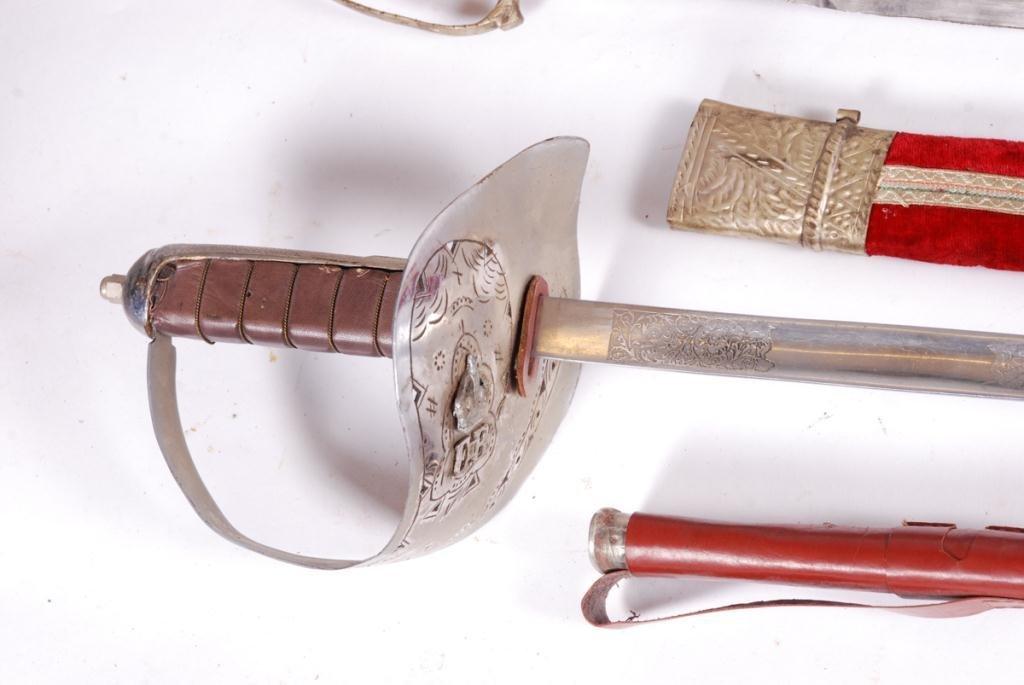 PAIR OF EPEE, INDO PERSIAN SWORD & QE II SWORD - 4