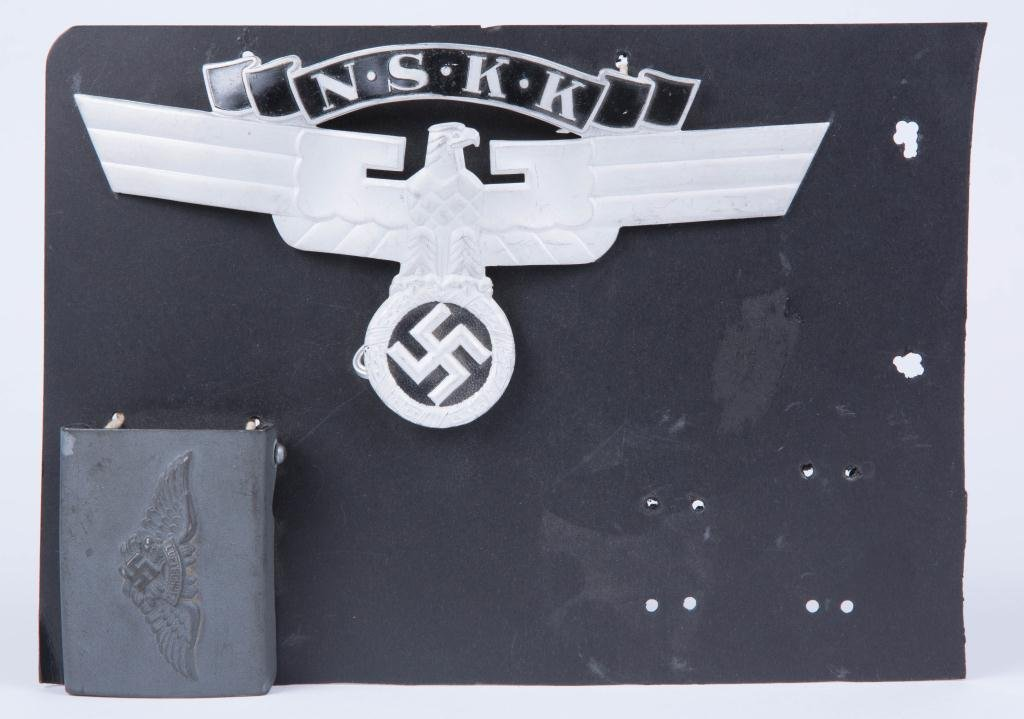 NAZI N.S.K.K. HELMET EAGLE and BELT BUCKLE