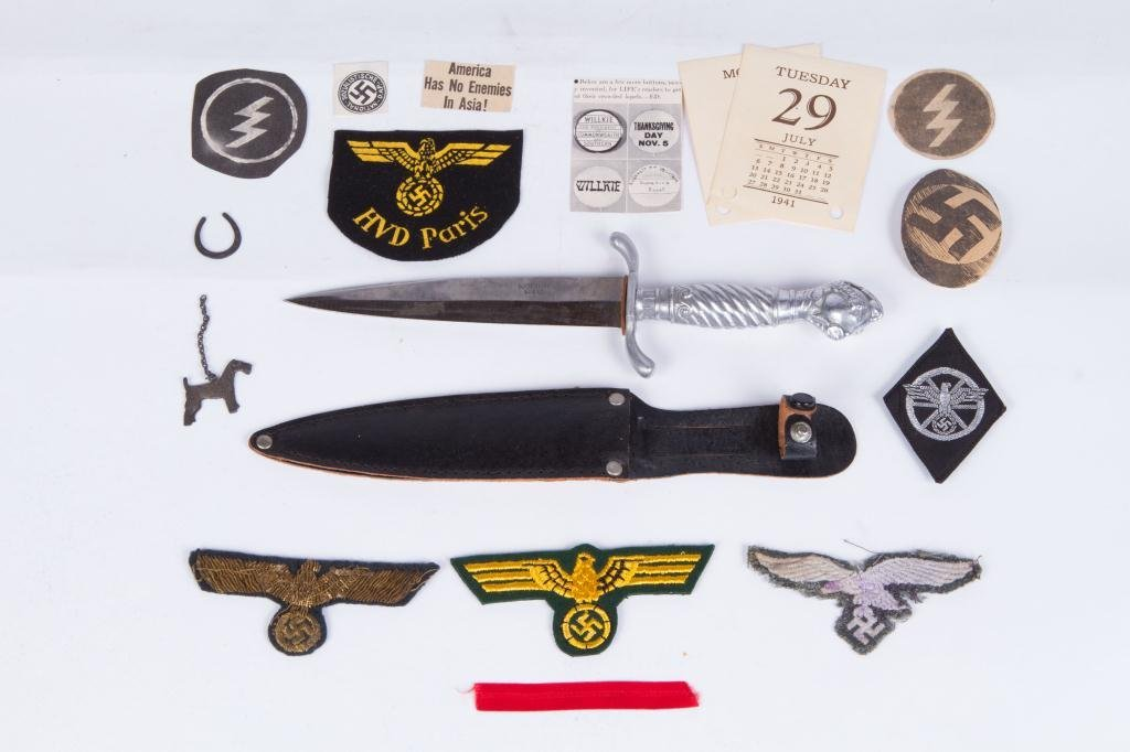 WWII NAZI PATCHES, DAGGER AND (2) METAL KEEPSAKES