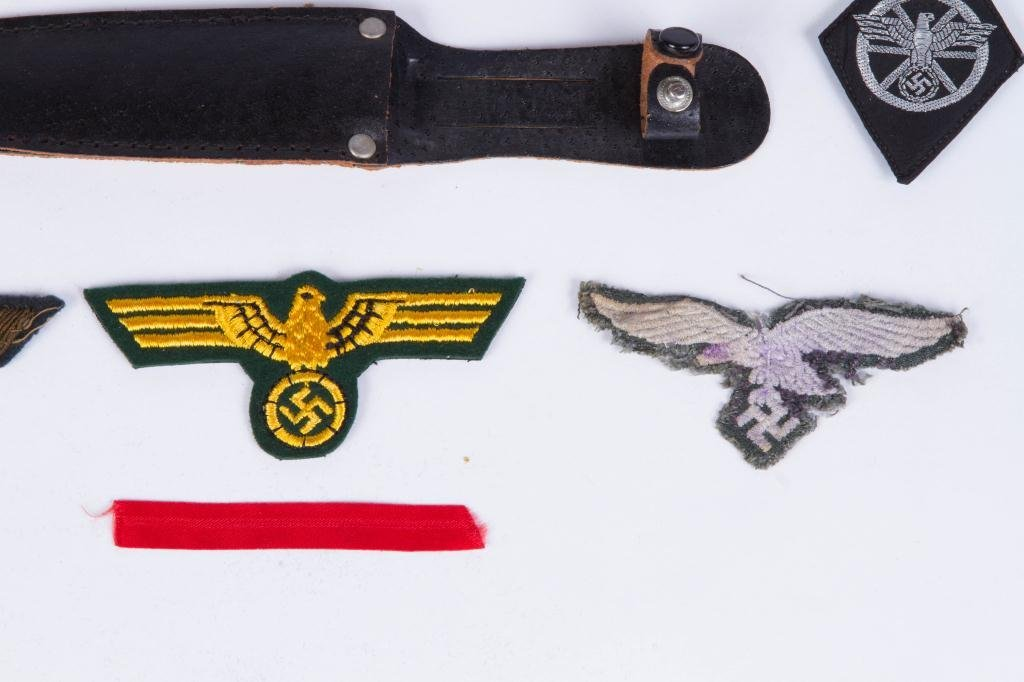 WWII NAZI PATCHES, DAGGER AND (2) METAL KEEPSAKES - 4